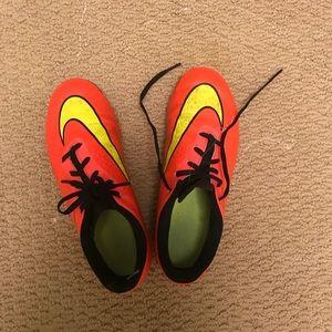 orange/pink neon soccer cleats